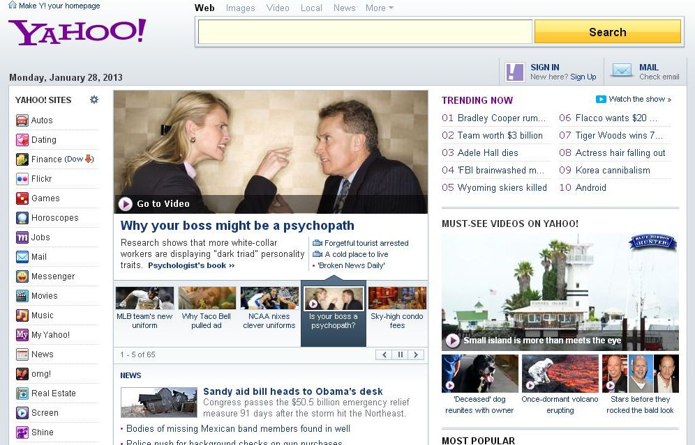 Yahoo Psychopathic Boss Headline