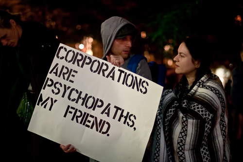 Corporations are Psychopaths Occupy Wall Street Sign